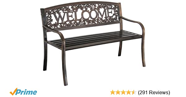Amazon.com : Leigh Country TX 94101 Metal Welcome Bench : Outdoor Benches :  Garden U0026 Outdoor