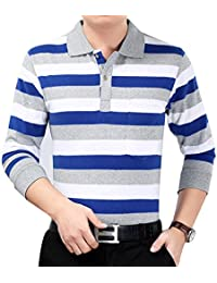 Men's Formal Slim Fit Striped Long Sleeve Dress Polo Shirt With Pocket