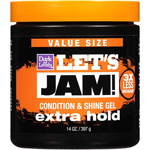 Hold Lets Jam - Hair Gel by SoftSheen-Carson Dark and Lovely Let's Jam, Shining and Conditioning Gel, Extra Hold, For all Hair Types, Styling Gel Also Great for Braiding, Twisting & Smooth Edges, Value Size 14oz