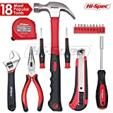 Hi-Spec 18pc Home & Garage Tool Set of Essential Household Tools including Claw Hammer, Long Nose Pliers, Adjustable Wrench, Utility Knife,Precision Screwdrivers, Bit Driver Handle & Screwdriver Bits