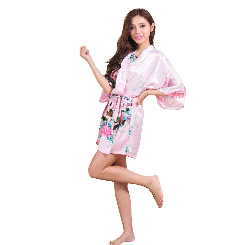 Pink XXHDYR Swimwear Women's Summer Pajamas Simulation Silk Dress Kimono Loose Swimsuit Cardigan Robes Peacock Short Bathrobe (color   Red, Size   M)