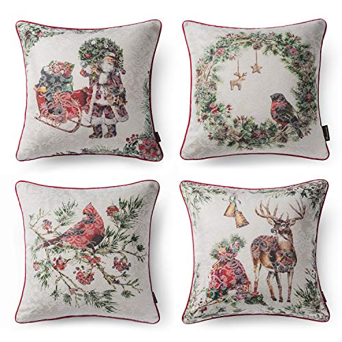 Phantoscope Set of 4 Merry Christmas 100% Cotton Jacquard Santa Bird Deer Flower with White Background Throw Pillow Case Cushion Cover 18 x 18 45 x 45 cm