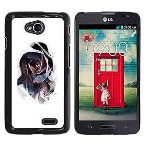 YOYOYO Smartphone Protección Defender Duro Negro Funda Imagen Diseño Carcasa Tapa Case Skin Cover Para LG Optimus L70 LS620 D325 MS323 - rosa misteriosa acuarela abstracta