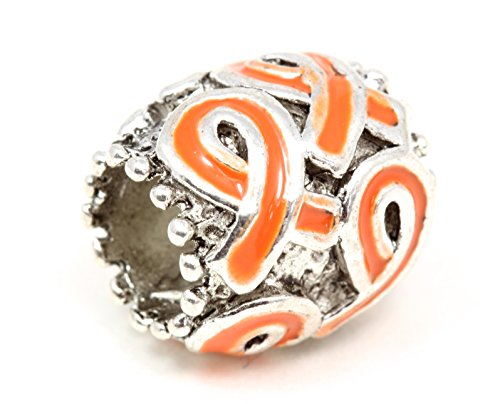 Orange Multi Ribbon Bracelet Charm Fits Pandora Style -