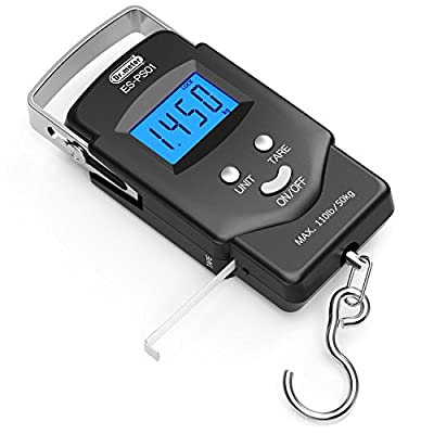 Dr.meter [Backlit LCD Display PS01 110lb/50kg Electronic Balance Digital Fishing Postal Hanging Hook Scale with Measuring Tape, 2 AAA Batteries Included
