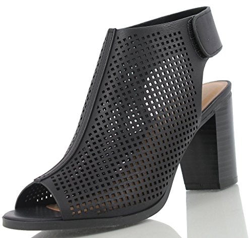 Leather Slingback Shoes (City Classified Women's Roadway Faux Leather Peep Toe Laser Cut Out Slingback Stacked Heels Black 6.5)
