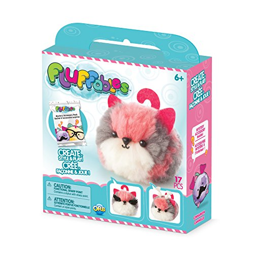 The Orb Factory Fluffables Cinnamon Arts & Crafts, Grey/Pink/White, 5.75