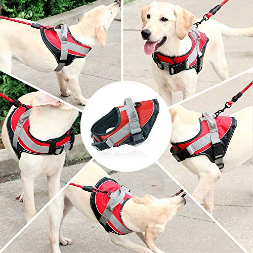 KITAINE Dog Harness No Pull for Small Medium Large XL Dogs, Heavy Duty Soft Padded Adjustable Dog Vest Harness Reflective Comfortable Control for Pet Training Walking Harnesses with Handle (XL, Red) ()