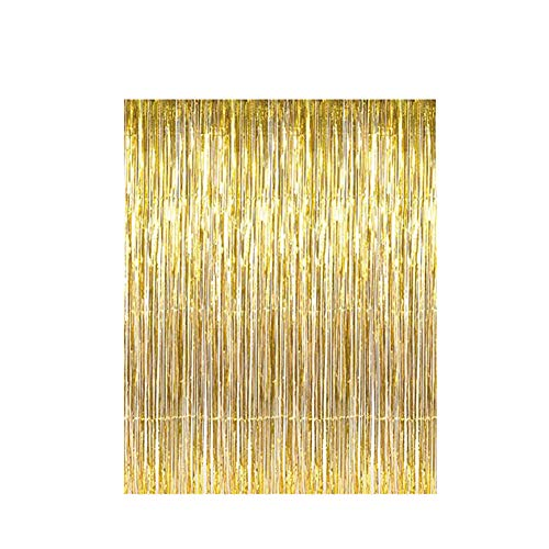 LoveHome [2-Pack] 3.2ft x 9.8ft Metallic Tinsel Foil Fringe Curtains Party Photo Backdrop Wedding Decor (Gold) -