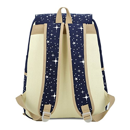 for Blue Leisure Backpack Students Travel Pattern Star Wallet Daypack 3Pcs Backpack Set Shoulder Backpack Multifunctional Navy blue Bag Scrox Navy Outdoor xqapg7w