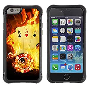 Hybrid Anti-Shock Defend Case for Apple iPhone 6 4.7 Inch / Burning Ace Cards