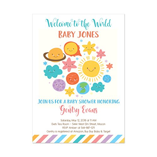 Amazon solar system moon and stars baby shower invitations solar system moon and stars baby shower invitations welcome to the world shower invitation base price is for a set of 10 5x7 inch card stock invitations filmwisefo