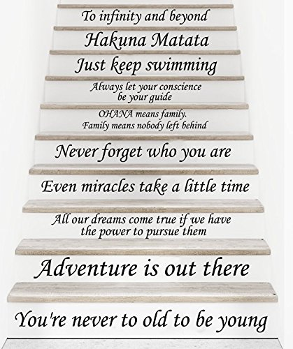 Stair Decals Disney Quotes Stairway Decals 13 Steps Quote Vinyl Stickers  Lettering Family Decor Staircase Decal