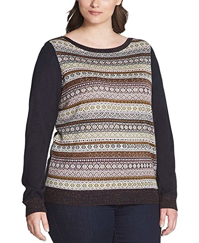 - Tommy Hilfiger Womens Studded Striped Pullover Sweater Navy 2X