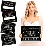 Bachelorette Party Mugshot Signs - Girls Night Out, Birthday, Wedding & Bachelorette Party Supplies - 20 Reversible Photo Booth Prop Signs - 40 Variations