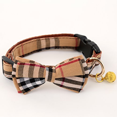 SuperBuddy Bell Cat and Dog Collar with Bowtie - Cute Plaid Bowtie,Soft and Comfortable,Adjustable Bowtie Collar for Small/Medium / Large Dogs ()