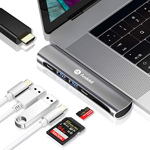 andobil USB C Hub, Type-C Dual Adapter 40Gbps MacBook Pro 2018 2017 2016 13 15, 7in1 Thunderbolt 3 USB-C 100W Power Delivery, USBC 5Gbps Data, 4K HDMI, microSD/SD Card Reader, 2xUSB 3.1 Ports