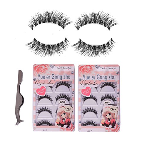 Apply False Eyelashes (Teenitor 10 Pair Crisscross False Eyelashes Lashes + Stainless Tweezers Combo, Natural Looking Soft With A Flexible)