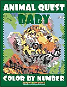 Amazon.com: BABY ANIMAL QUEST Color by Number: Activity