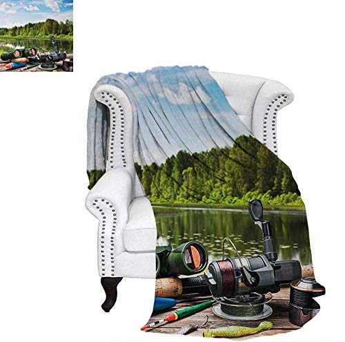 (Custom Design Cozy Flannel Blanket Fishing Tackle on a Pontoon Lake in The Woods Trees and Greenery Freshwater Hob Lightweight Blanket 62