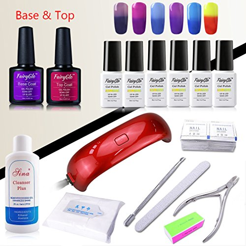 FairyGlo 6 PCS Thermal Colour Changing Gel Nail Polish Base