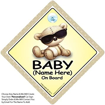 Baby On Board Sign PERSONALISED Add a Name Baby Car Sign