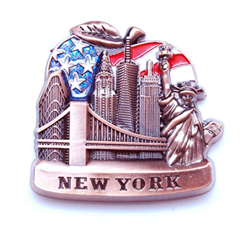 Favorict US Flag Fridge NY Magnet - Empire State Building,Statue Of Liberty,Brooklyn Bridge,Skylines New York Souvenir (Pack 1)