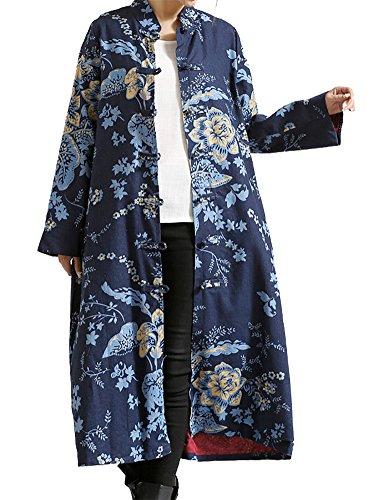 IDEALSANXUN Women's Cotton Linen Vintage Floral Print Lightweight Trench Coat Long Button Down Jacket Robe (Small, 1 Blue)