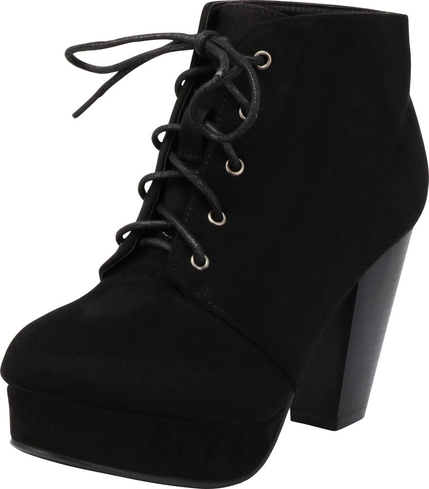 Forever Camille-86 Women's Comfort Stacked Chunky Heel Lace up Ankle Booties,Black,7
