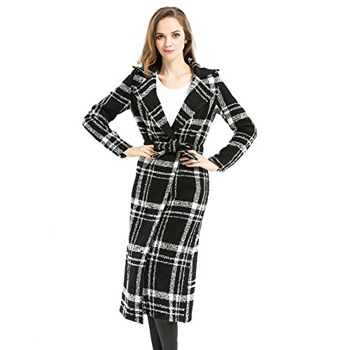 Biovan Women's Plaid Long Overcoat Trench Manteau with Sashes Casual Outwear (Plaid Overcoat)