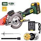 POPOMAN Cordless Circular Saw, 4.0Ah 20V 4,500RPM Saw with Laser, 3 Blades(4-1/2\
