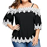 Women Fashion Plus Size Short Sleeve Lace Off Shoulder Sexy Blouses Shirts Tops Teen Girls Tunic Jumpers for Summer (2XL, Black)