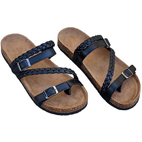 Liyuandian Womens Cross Toe Double Buckle Strap Summer Leather Flat Mayari Sandals (7, E-Black) ()