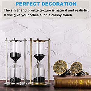 SuLiao Hourglass 60 Minute Sand Timer, Vintage Large Black Sand Clock, Unity Brass Sand Watch 60 Min, Antique Reloj De Arena, Metal 1 Hour Glass Sandglass for Home, Office, Desk Decor (Color: Brass Frame, Black Sand, Tamaño: L 60 Min)