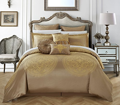 Chic Home 9 Piece Lana Faux Silk Luxury Large Medalion Jacquard with embroidery details and trims Queen Comforter Set Gold (Trim 9 Piece Set)