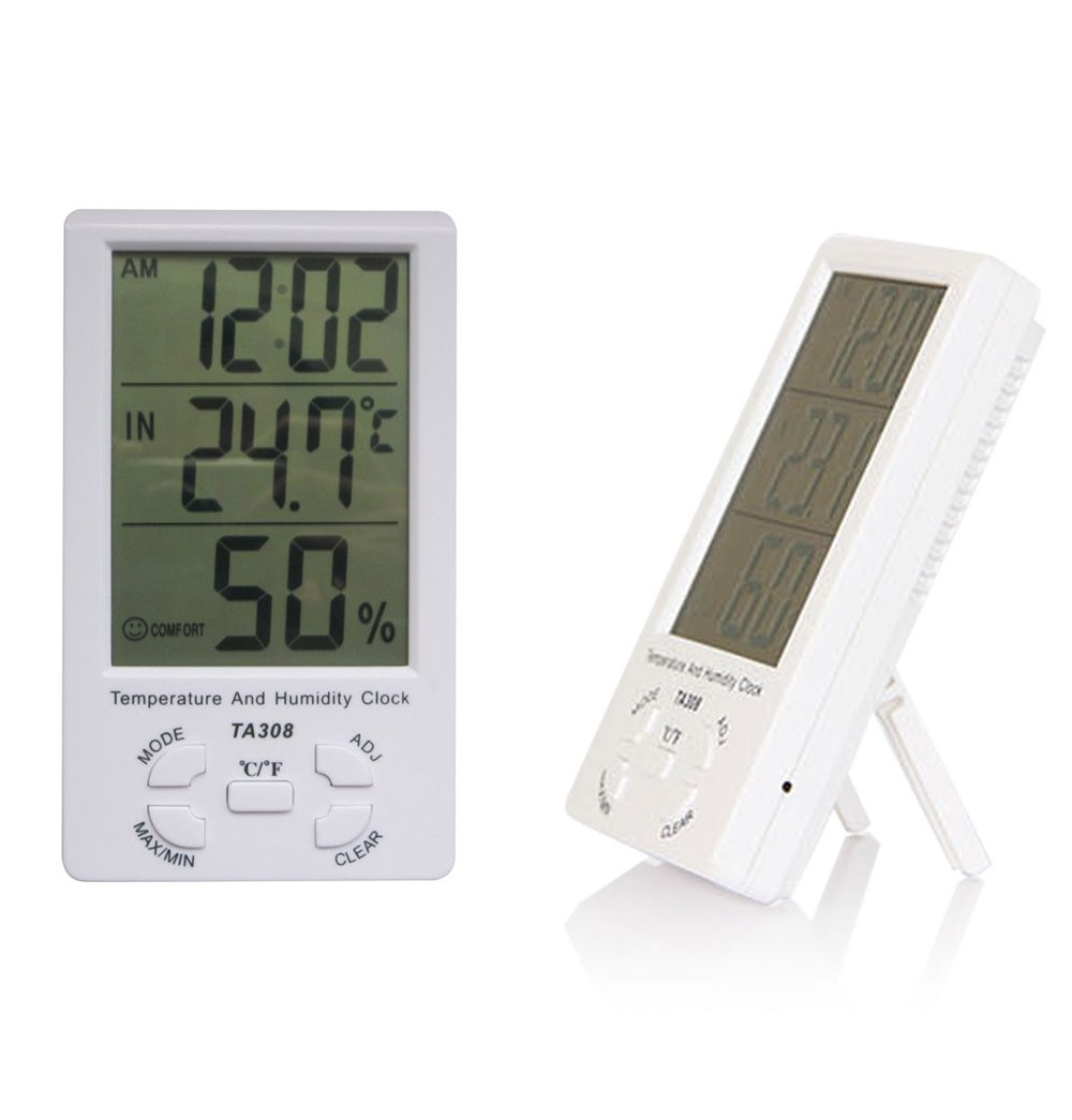 Set of 2 NUZAMAS Large LCD Digital Humidity Temperature Thermometer sensor /& Clock Indoor//Outdoor Humidity and Temperature Monitor for Home Office Thermometer Hygrometer Gauge Min//Max Records
