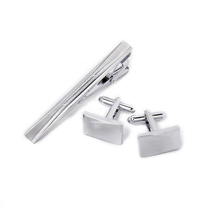 Men Silver Necktie Tie Bar Pin Clasp Clip Cufflinks Set Wedding Prom Groom