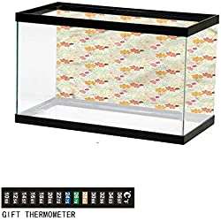 """bybyhome Fish Tank Backdrop Autumn Fall,Vintage Floral Botany,Aquarium Background,60"""" L X 24"""" H(152x61cm) Thermometer Sticker"""