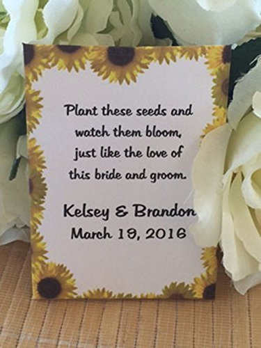 Amazon Sunflower Border Wedding Seed Packets Set Of 50