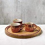 Handmade espresso coffee set 4 pieces cups milk pitcher jug wooden oak tray textured brown glaze