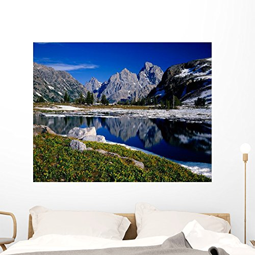 Grand Teton behind Lake Wall Mural by Wallmonkeys Peel and Stick Graphic (48 in W x 38 in H) WM161324