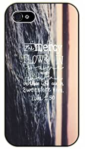 His mercy flows in after on those who are in awe before him - Luke 1:50 - Bible verse iPhone 5 / 5s black plastic case / Christian Verses