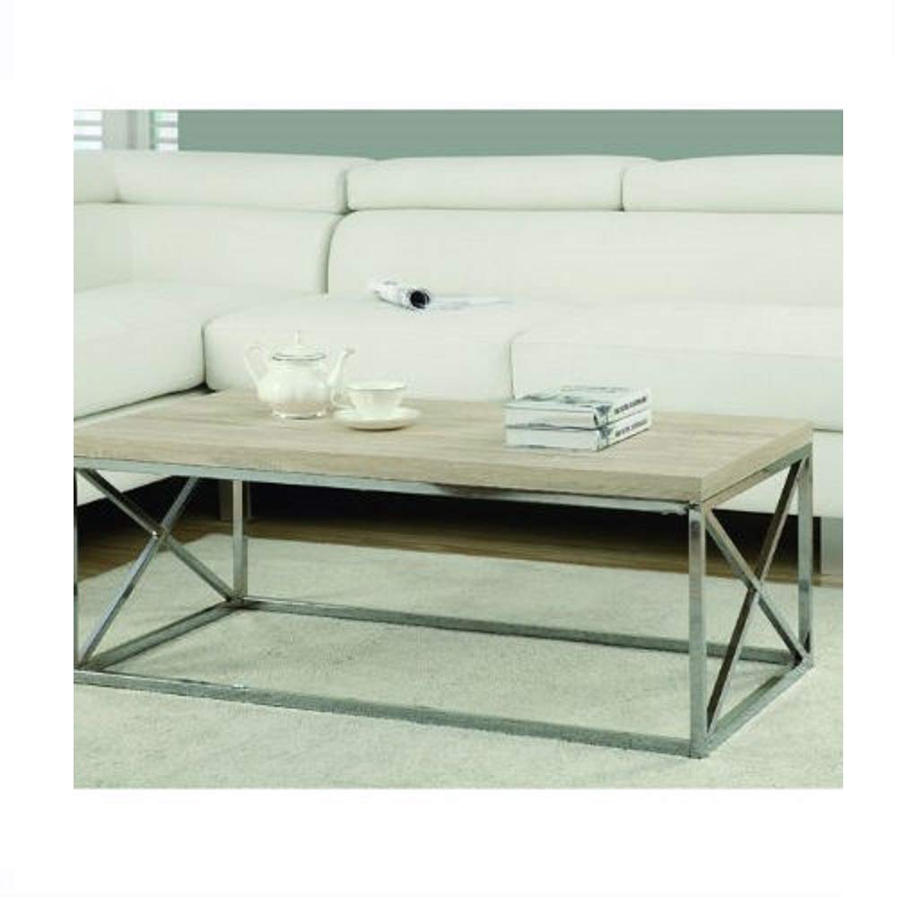 Amazoncom Contemporary Chrome Metal Coffee Table With Natural