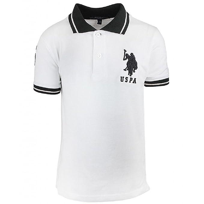 Polo Assn - Camiseta de Manga Corta - para niño Blanco Blanco 5-6 ...