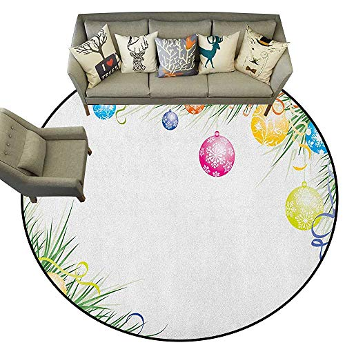 New Year,Bathroom Rugs Colorful Baubles on Fir Branches Seasonal Ornaments Christmas Themed Illustration D78 Kitchen Mat