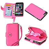 Fone-Stuff iPhone 6 Plus Ladies Purse Wallet Case with Detachable Magnetic Hard Cover with Zipper Pocket and Card Holders in Hot Pink + Free Screen Protector