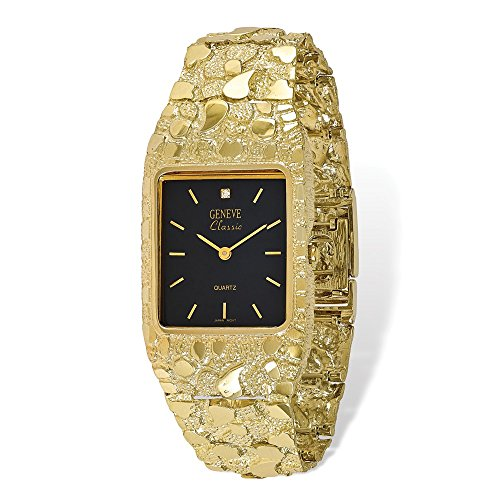 Solid 10k Yellow Gold Big Heavy Black 27x47mm Dial Square Face Nugget Watch