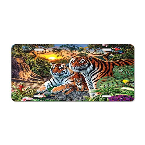 Animals of Jungle Tiger and Tigress Metal License Plate Front License Plate - Car License Plate Cover with 4 Holes Car Tag 6