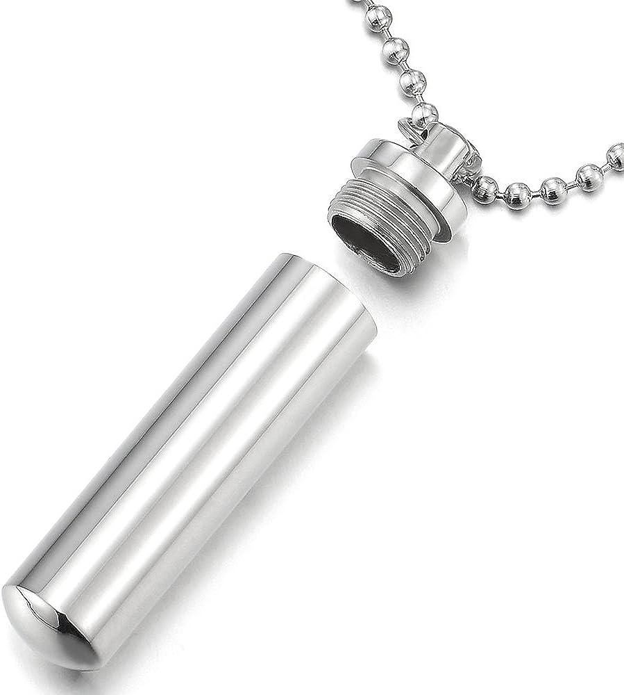 Bo/îte /à Pilules Collier Acier Inoxydable COOLSTEELANDBEYOND Homme Femme Cylindre M/émorial Pendentif Poli avec 60CM Cha/îne de Boule