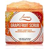 Grapefruit Face & Body Scrub, Skin Exfoliator and Moisturizer for Face Body Lip with Dead Sea Salt and Organic Essential Oils by Cosprof – 12oz